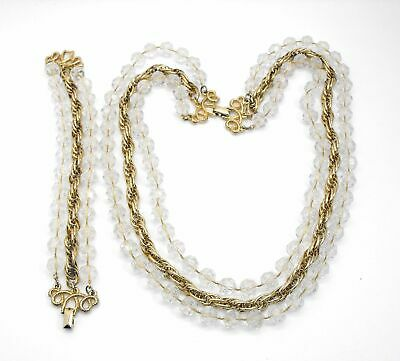 $21.24 • Buy Sarah Coventry Necklace Bracelet Set Golden Ice Clear Beads Gold Plated