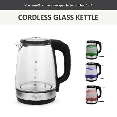 AU49.95 • Buy 2L Electric Cordless Glass Kettle Colourful LED Lights Keep Warm BPA Free 2200W
