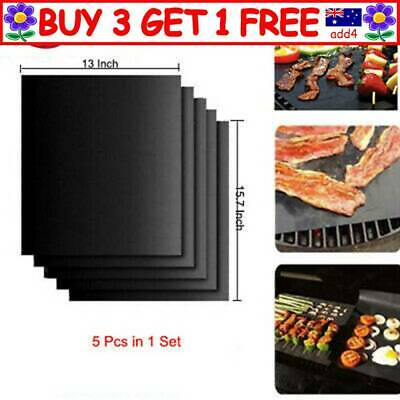 AU19.95 • Buy 5x BBQ Grill Mat Reusable Bake Sheet Resistant Teflon Meat Barbecue Non-Stick TH