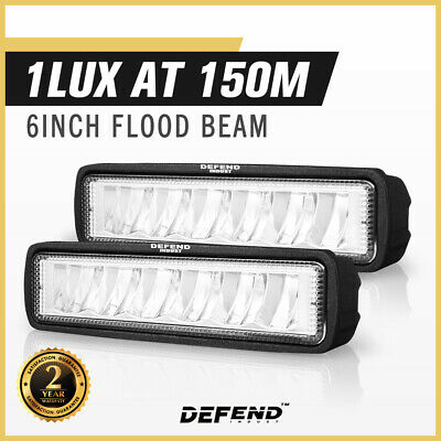 AU20.95 • Buy DEFEND INDUST Pair 6 Inch CREE FLOOD LED Work Light Bar Driving Lights 4WD