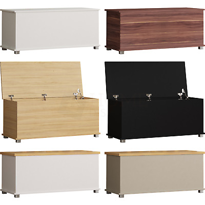 Storage Ottoman Chest Toy Box Bedroom Bedding Blanket Trunk Bench Wood Large • 38.95£