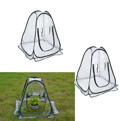 2 Set  Pop Up Greenhouse Small Gardening Flowerpot Cover Backyard Flower Shelter • 32.15£