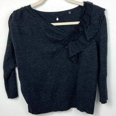 $ CDN65 • Buy Anthropologie Knitted & Knotted Women's Medium Oblique Pointelle Wool Sweater
