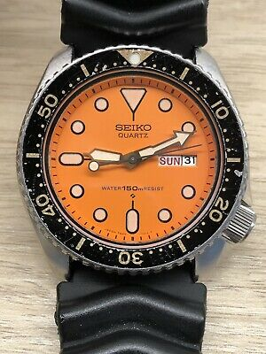 $ CDN450 • Buy Seiko Quartz 7548-700C Men's Divers Watch Orange Face 150M Water Resist Working