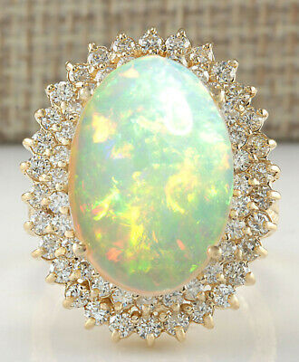 $531 • Buy 10.50 Carat Natural Opal 18K Solid Yellow Gold Luxury Diamond Ring