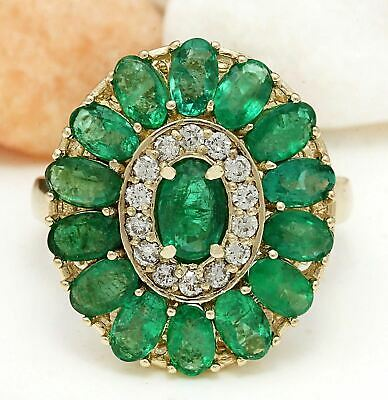 $235.50 • Buy 4.20 Carat Natural Emerald 18K Solid Yellow Gold Luxury Diamond Ring