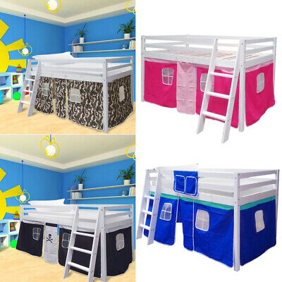 Cabin Bed Kids Mid Sleeper Heavy Duty Wood Bedframe W/ Stairs Curtains Game Room • 169.95£
