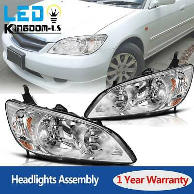 $75.50 • Buy Chrome Headlights Pair For 2004 2005 Honda Civic 2/4 Door Headlamps Replacement
