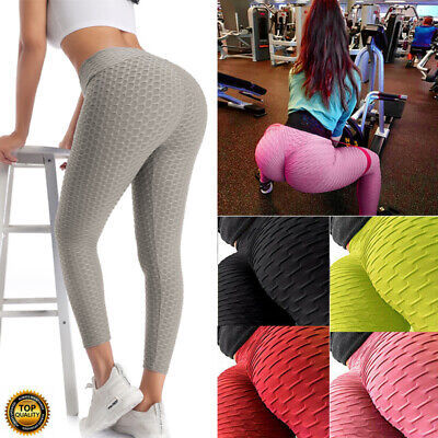 Womens Anti-Cellulite Yoga Pants Push Up Leggings Honeycomb Gym Scrunch Trousers • 13.99£