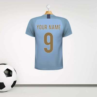 Personalised Light Blue Football Shirt Wall Sticker With Your Name & Number • 19.99£
