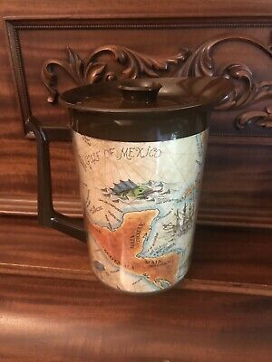 AU25.78 • Buy West Bend Thermo Serv Insulated Server Pitcher Jug Old World Map Vintage 70's