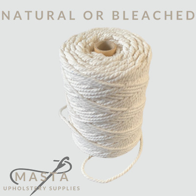 3mm 4mm 5mm & 6mm Natural White Cotton Piping Cord Upholstery & Soft Furnishings • 4.50£