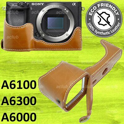 $ CDN25.16 • Buy Sony A6000 A6300 PU Leather Half Case Cover - Brown