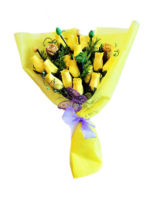 Deluxe Wooden Roses Bouquet - Ray Of Sunshine • 11.99£