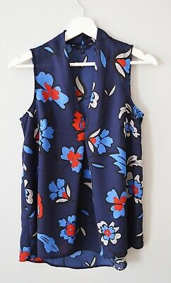 £3 • Buy CLEARANCE Ex Nxt 8-16 Navy Floral V Neck Pleated Summer Holiday Top Vest