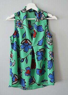£3 • Buy CLEARANCE Ex Nxt 8-16 Green Floral V Neck Pleated Summer Holiday Top Vest