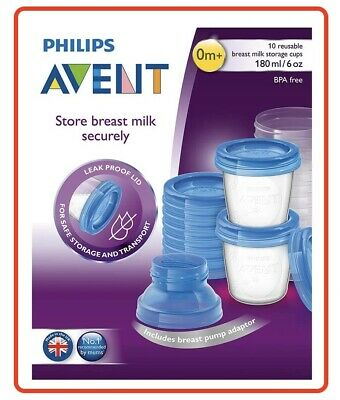 AU21.60 • Buy ❤ Philips AVENT Breast Milk Storage Container 180mL 10 X Pack Storage Cups ❤