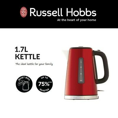 AU89.95 • Buy 1.7L Russell Hobbs Electric Cordless Kettle Quiet Boil Removable Filter RED