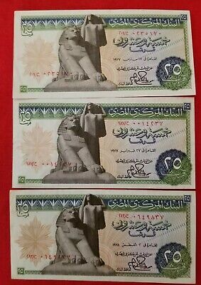 $9.99 • Buy EGYPT 25 PIASTRES P47 1977 X 3 PIECE SPHINX STATUE ARMS UNC MONEY BILL BANK NOTE