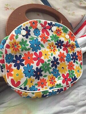 $15 • Buy Bermuda Bag Floral Wooden Handle Pearl Buttons 60s 70s Classic