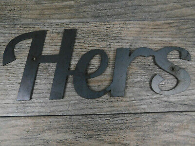 HERS Metal Wall Art Word Quote Metal Sign Steel RUSTIC Bathroom Wall Decor  • 15.27£