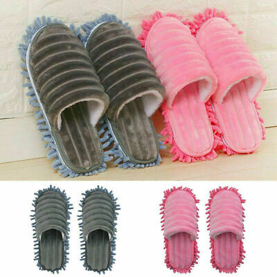 A Pair Mop Slippers Lazy Floor Foot Socks Shoes Quick Polishing Cleaning Dust • 7.89£