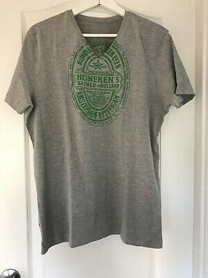 HEINEKEN BIER AMSTERDAM  MENS GREY SHORT SLEEVED T-SHIRT V-NECK Size L • 19.99£