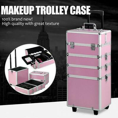 $53.99 • Buy New 4in 1 Pro Aluminum Rolling Makeup Case Salon Cosmetic Organizer Trolley Set