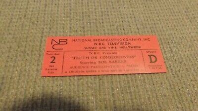$6.99 • Buy August 2 1960 Bob Barker Truth Or Consequences Ticket