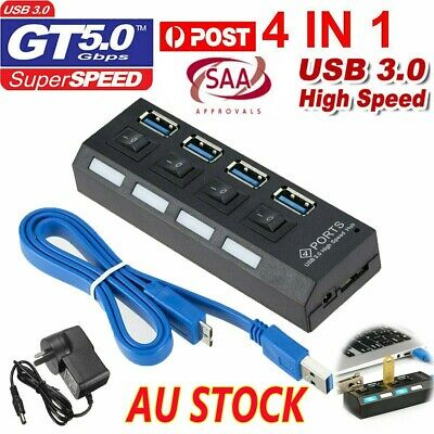 AU22.97 • Buy 4 Port USB 3.0 HUB Powered AC Adapter Cable High Speed Splitter Extender AU Post