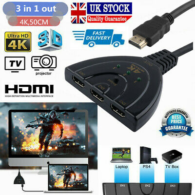£4 • Buy 1080P/4K HDMI Splitter 1 In 2 Out Converter 3 Port To 1 Switcher Cable 50cm UK