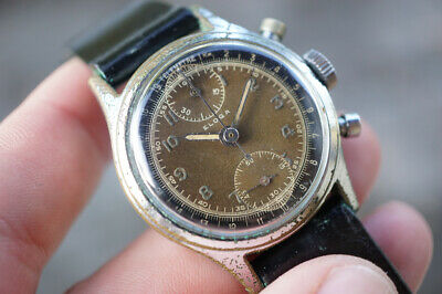 $ CDN1032.25 • Buy Eloga Chronograph, Vintage Military Swiss Watch, Column Wheel Movement Venus 170