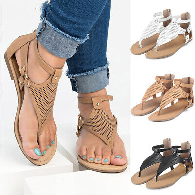 Womens Flats Sandals Ladies Strappy Flip Flops Gladiator Summer Beach Shoes Size • 11.54£