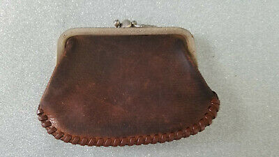 $19.99 • Buy Vintage Coin Purse Genuine Leather Stitched 2 Pocket Wallet Money Pouch