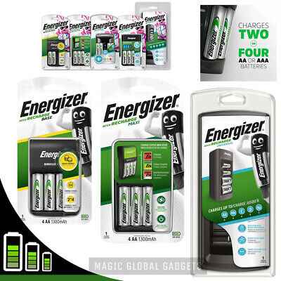 ENERGIZER BATTERY CHARGER + Rechargeable Batteries AA AAA C D 9V  Pre-Charged  • 12.99£
