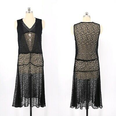 $198 • Buy 1920s Black Lace Flapper Dress Beading And Rhinestones 1920s Party Vintage Deco
