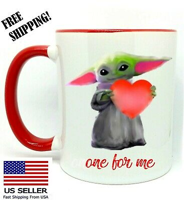 $14.99 • Buy Baby Yoda, One For Me, Birthday Gift, Valentine's Day, Red Mug 11 Oz, Coffee/Tea