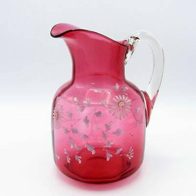 $58.98 • Buy Antique Large Cranberry Glass Pitcher With Hand Painted Flowers, NR