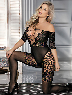 All In One Erotic Fishnet Bodystocking Babydoll Closed Crotch Lace Body Catsuit • 10.99£
