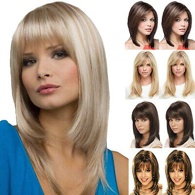 £17.09 • Buy Women Real Natural Medium Straight Hair Wigs With Bangs Party Cosplay Full Wig
