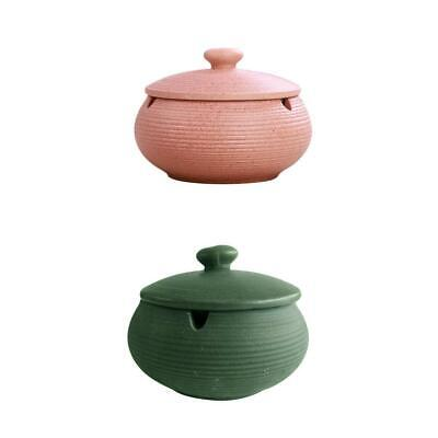 2 Pieces Ceramic Ashtray With Lids Smoking Ash Tray For Indoor Outdoor Home • 17.68£