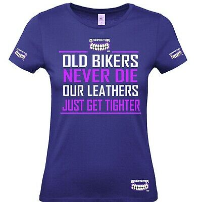 £18.99 • Buy Grinfactor Old Bikers Never Die Our Leathers Just Get Tighter Lady Women Tshirt
