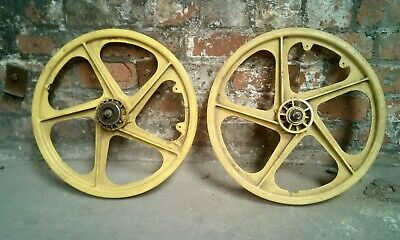 Ogk Wheels Front And Rear Yellow 1980s Old School Bmx Skyway Tuff Pk Ripper • 300£