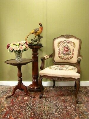 AU450 • Buy Antique Style Chair / Armchair With Fine Floral Tapestry~ Bedroom/living