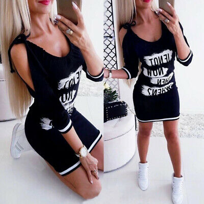 UK Womens Cold Shoulder Bodycon Casual Dress Ladies Long Sleeve Party Mini Dress • 7.89£