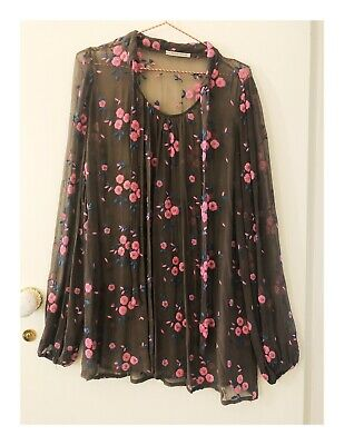 AU60 • Buy Womens Designer Scanlan Theodore Brown And Pink Floral Dress Size SM 8-12 AUS