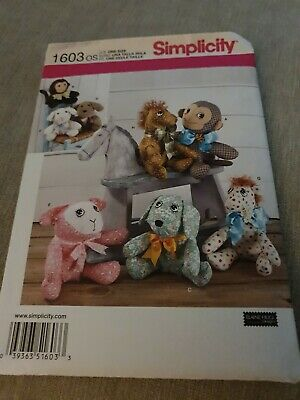 SIMPLICITY Sewing Pattern~1603 Childs  Baby Two Pattern Piece Animals Craft  • 8£