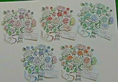 10 X Tattered Lace Mixed Colours Summer Bouquet Die Cut Flower Card Toppers  • 2.80£