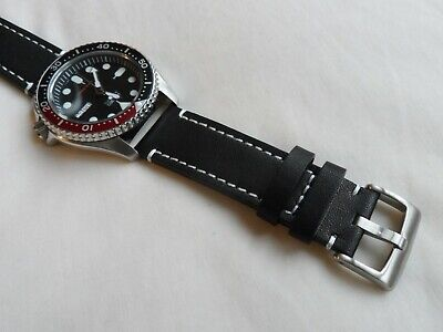Black Leather Watch Strap For Seiko SKX SNZF SNZG SRPD Watch Quick Release 22 Mm • 14.95£