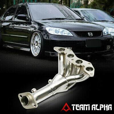 $58.68 • Buy Fits 2001-2005 Honda Civic DX/LX D17{4-1 STYLE}Stainless Exhaust Manifold Header